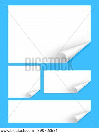 Paper Mock-up Template A4, Paper With Curl Corner, Empty White Paperwork A4 Layout, Blank Rectangle