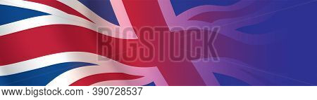 Uk Flag Banner With Copy Space. Great Britain Waving Flag Wide Horizontal Background. Patriotic Vect