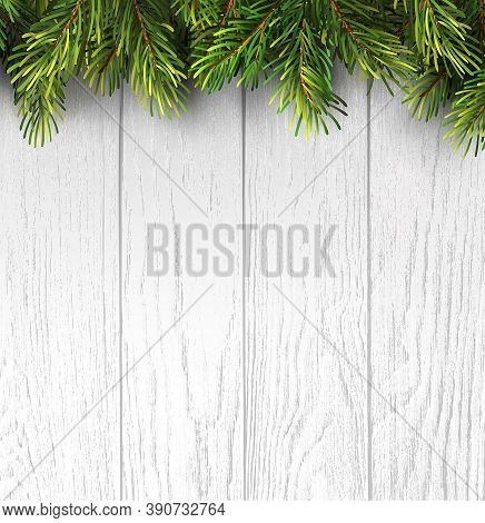 Christmas Branches On White Wooden Board For Banner Design. Holiday Banner Happy New Year. Merry Chr