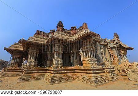 Hampi, India on December 31 :World heritage site historic Vijaya Vittala temple and Hampi runes in India,on December 31, 2019.