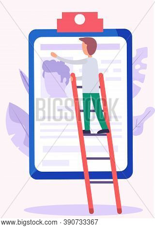 A Man In Business Clothes Is Climbing Onto A Ladder To Paste A Photo And Text On The Resume Attached