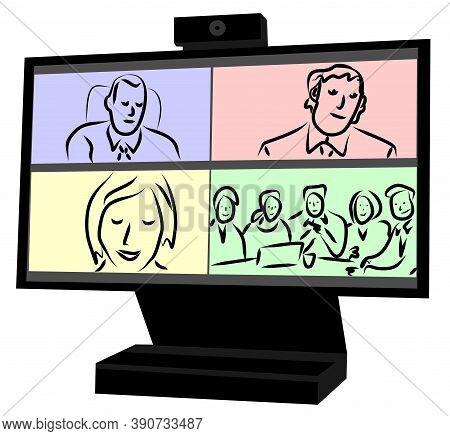 Vector Image Of A Computer Monitor During A Video Conference. Open Windows With Skype Interlocutors.