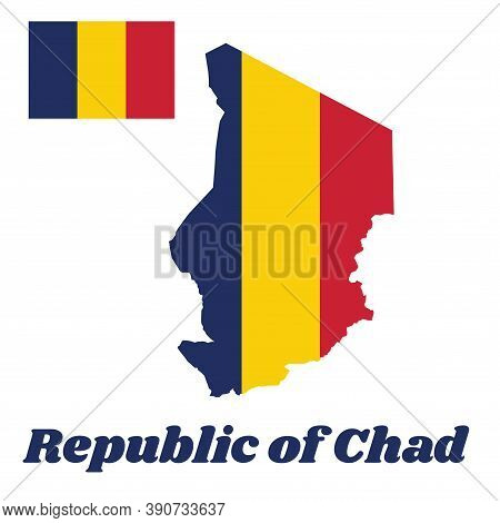 Map Outline And Flag Of Chad, A Vertical Tricolor Of Blue, Gold, And Red. With Name Text Republic Of