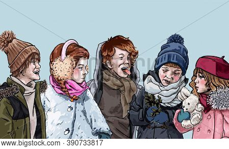 Kids Playing Together Outdoors. Boys And Girls Wearing Winter Clothes Spending Time Together. Weeken