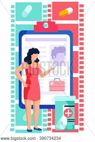 Online Medical Consultation Concept. Remote Communication With A Doctor Or Pharmacist. Female Patien
