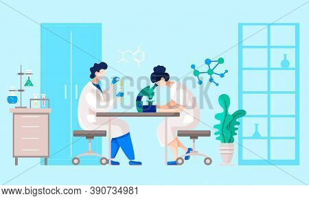 People Working On Experiment Or Analysis In Researching Laboratory. Man And Woman Using Microscope A