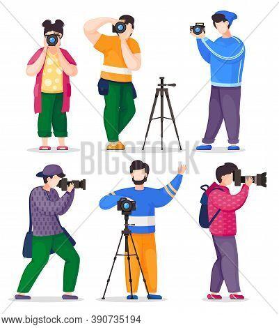 Isolated Photographers, Paparazzi Or Journalists Set Taking Photos, Female And Males Take Shoot Usin