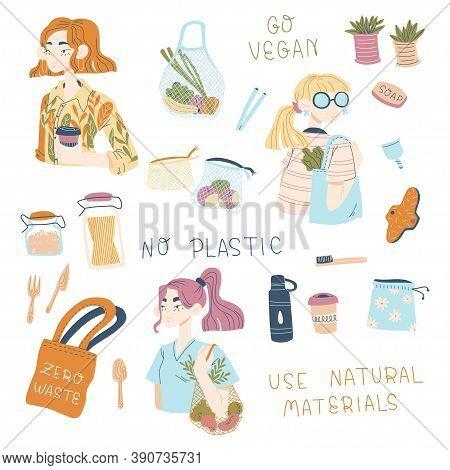 Set Of Hand Drawn Zero Waste Durable And Reusable Items. No Plastic. Go Vegan