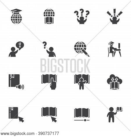 Distance Education Vector Icons Set, Modern Solid Symbol Collection, Filled Style Pictogram Pack. Si