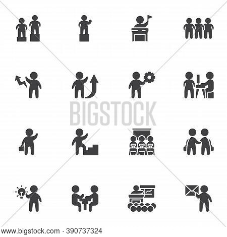 Business Teamwork Vector Icons Set, Business People Group Modern Solid Symbol Collection, Filled Sty