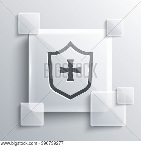 Grey Shield Icon Isolated On Grey Background. Guard Sign. Security, Safety, Protection, Privacy Conc