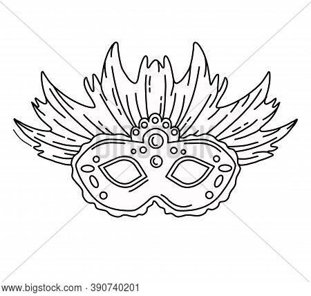 Vector Illustration Of Masquerade Mask In Style . Coloring Pages.