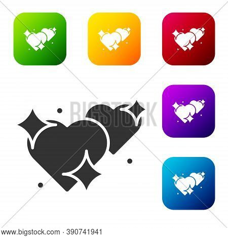Black Two Linked Hearts Icon Isolated On White Background. Romantic Symbol Linked, Join, Passion And