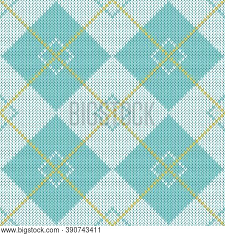 Blue and white argyle sweater pattern. Seamless knitted diamond pattern with white and blue rhombuses and yellow lines. Neutral winter knitted texture backdrop.