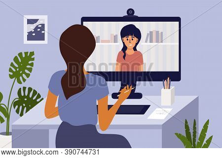 Video Call With Psychologist Through Computer By Web Cam. Psychotherapy Online From Home. Sad Girl T