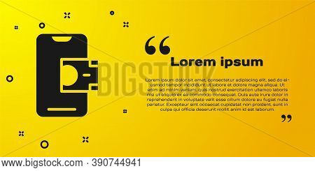 Black Mobile Banking Icon Isolated On Yellow Background. Transfer Money Through Mobile Banking On Th