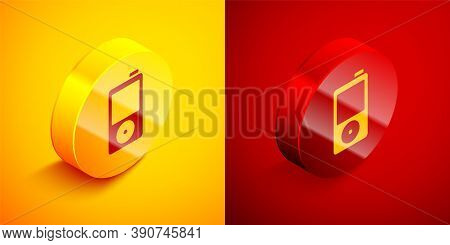 Isometric Music Player Icon Isolated On Orange And Red Background. Portable Music Device. Circle But