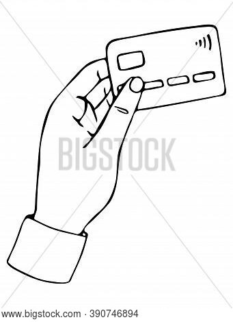 Vector Isolated Element. Hand Bank Card. Payment For Delivery, Salary
