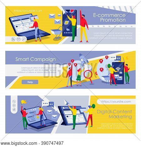 Digital Content Marketing Landing Pages Set. E-commerce Promotion, Smart Campaign Web Pages. Busines