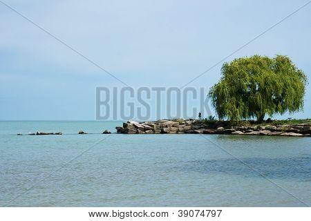 Fisherman On A Breakwall