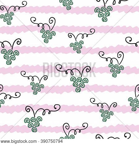Abstract Green Bunches Of Grapes, Vines On A Striped Pink And White Background. Hand Drawn, Outline.