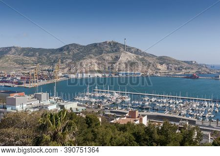 Cartagena, Spain - April 12, 2017: Views Of The Commercial Harbor And Touristic Dock Of Cartagena, I