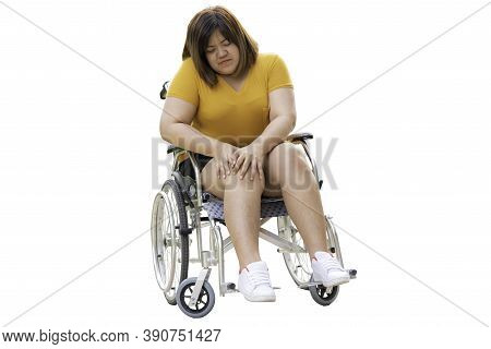 Asian Fat Woman Are Patients Sitting On A Wheelchair She Have A Knee Pain Due To Excessive Weight An