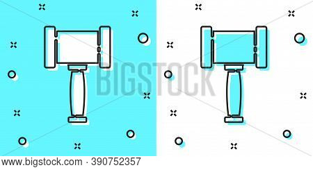 Black Line Judge Gavel Icon Isolated On Green And White Background. Gavel For Adjudication Of Senten