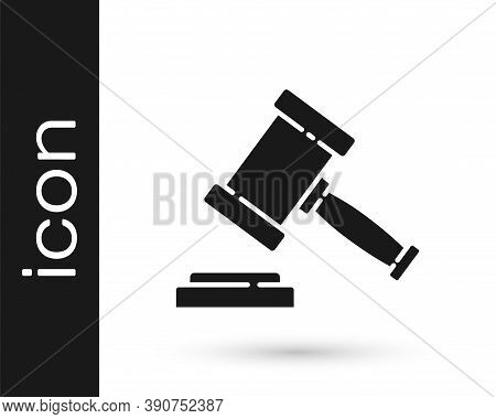 Black Judge Gavel Icon Isolated On White Background. Gavel For Adjudication Of Sentences And Bills,