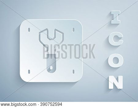 Paper Cut Repair Of Railway Icon Isolated On Grey Background. Repair Works. Renovation Work. Sign An