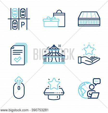 Business Icons Set. Included Icon As Circus, Parking Place, Swipe Up Signs. Handout, Mattress, Winne