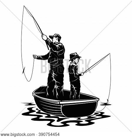 Son And Dad In Boat - Fishing Design - Father And Son Fishermans