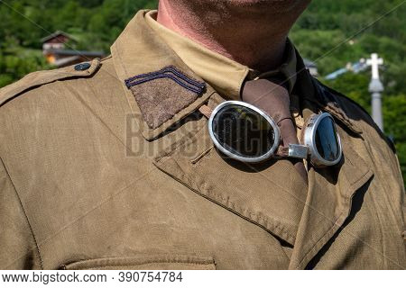 A Close Up Of Antique Military Goggles