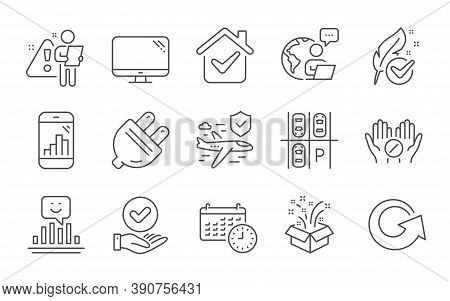 Approved Checkbox, Computer And Hypoallergenic Tested Line Icons Set. Parking Place, Medical Tablet
