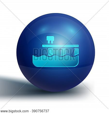 Blue Beach Pier Dock Icon Isolated On White Background. Blue Circle Button. Vector