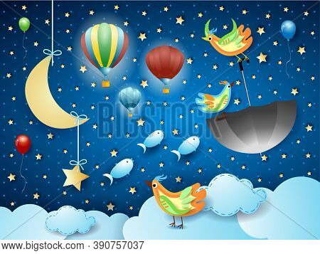 Surreal Cloudscape With Flying Umbrella And Fishes. Vector Illustration Eps10