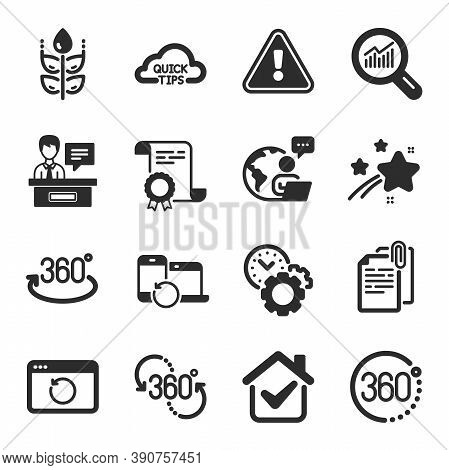 Set Of Science Icons, Such As Time Management, Recovery Devices, Full Rotation Symbols. Data Analysi