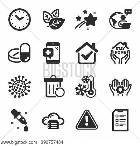 Set Of Science Icons, Such As Recovery Trash, Checklist, Freezing Symbols. Stay Home, Cloud Server,