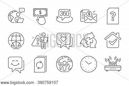 Magistrates Court, Unknown File And Update Document Line Icons Set. Smile Face, Wifi And Recycle Sig