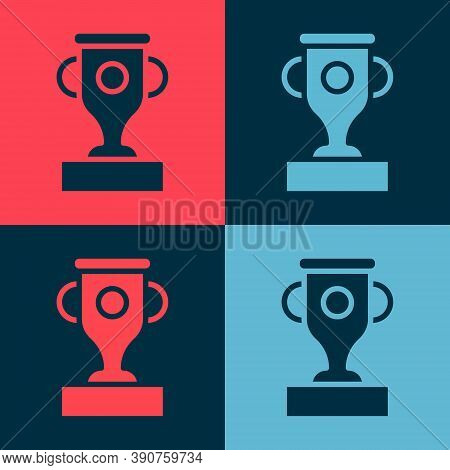 Pop Art Award Cup Icon Isolated On Color Background. Winner Trophy Symbol. Championship Or Competiti