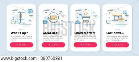 Set Of Business Icons, Such As Refund Commission, Refrigerator, Online Market Symbols. Mobile Screen