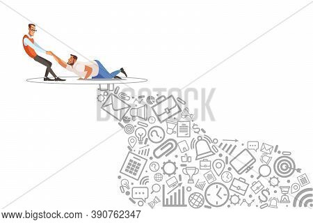Help Friend, Coaching, Mentoring, Abstract Icon Business Problem Solving, Consulting. Vector Illustr