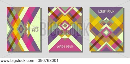 Set Of Cover Page Layouts, Vector Templates Geometric Design With Triangles And Stripes. Folklore Br