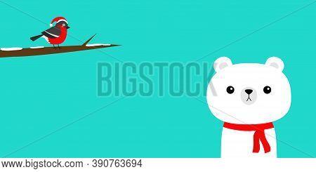 White Polar Bear In Red Scarf. Bulfinch Bird On Snow Tree Brunch. Merry Christmas. Hello Winter. Cut