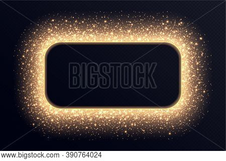 Golden Rectangle Frame With Sparkles And Flares, Abstract Luminous Particles, Background With Bright