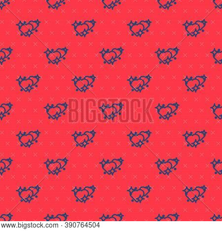 Blue Line Two Linked Hearts Icon Isolated Seamless Pattern On Red Background. Romantic Symbol Linked