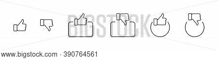 Like. Thumb Up And Down In Linear Design. Thumb Up And Thumb Down With Square And Circle. Like Vecto