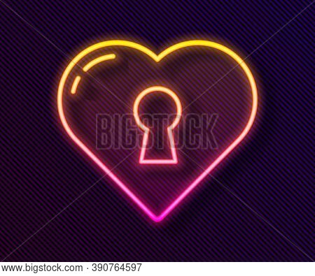 Glowing Neon Line Heart With Keyhole Icon Isolated On Black Background. Locked Heart. Love Symbol An