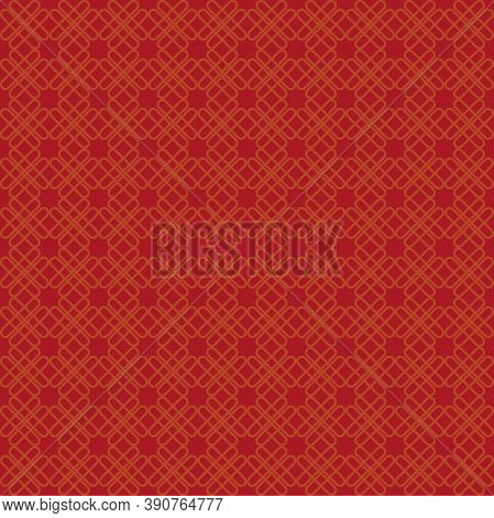 Chinese Style Red Gold Seamless Pattern. Repeating Texture, Background. Vector Illustration