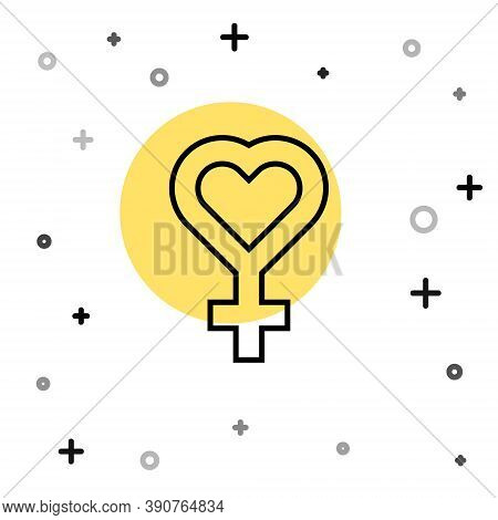 Black Line Female Gender Symbol Icon Isolated On White Background. Venus Symbol. The Symbol For A Fe